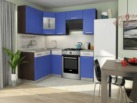 Кухня Алиса-11 угловая Венге/Синий
