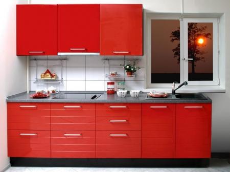 Кухонный гарнитур Фьюжн красный глянец