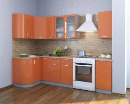 Кухонный гарнитур Фьюжн глянец оранжевый